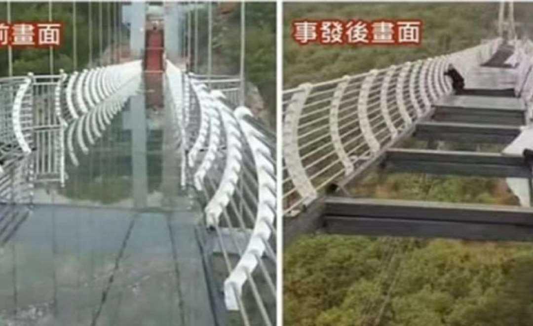 ჩინეთში დაკიდებული შუშის ხიდი ჩამოიშალა მაშინ, როცა მასზე ტურისტები გადადიოდნენ